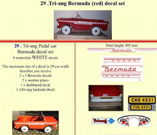 29 Tri-ang Bermuda (red) decal set